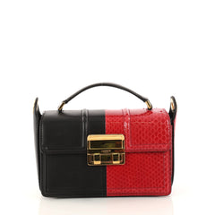 Lanvin Jiji Shoulder Bag Calfskin and Python Small Red 3133001