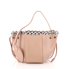 Alaia Eyelet Hobo Leather Small Pink 3134501