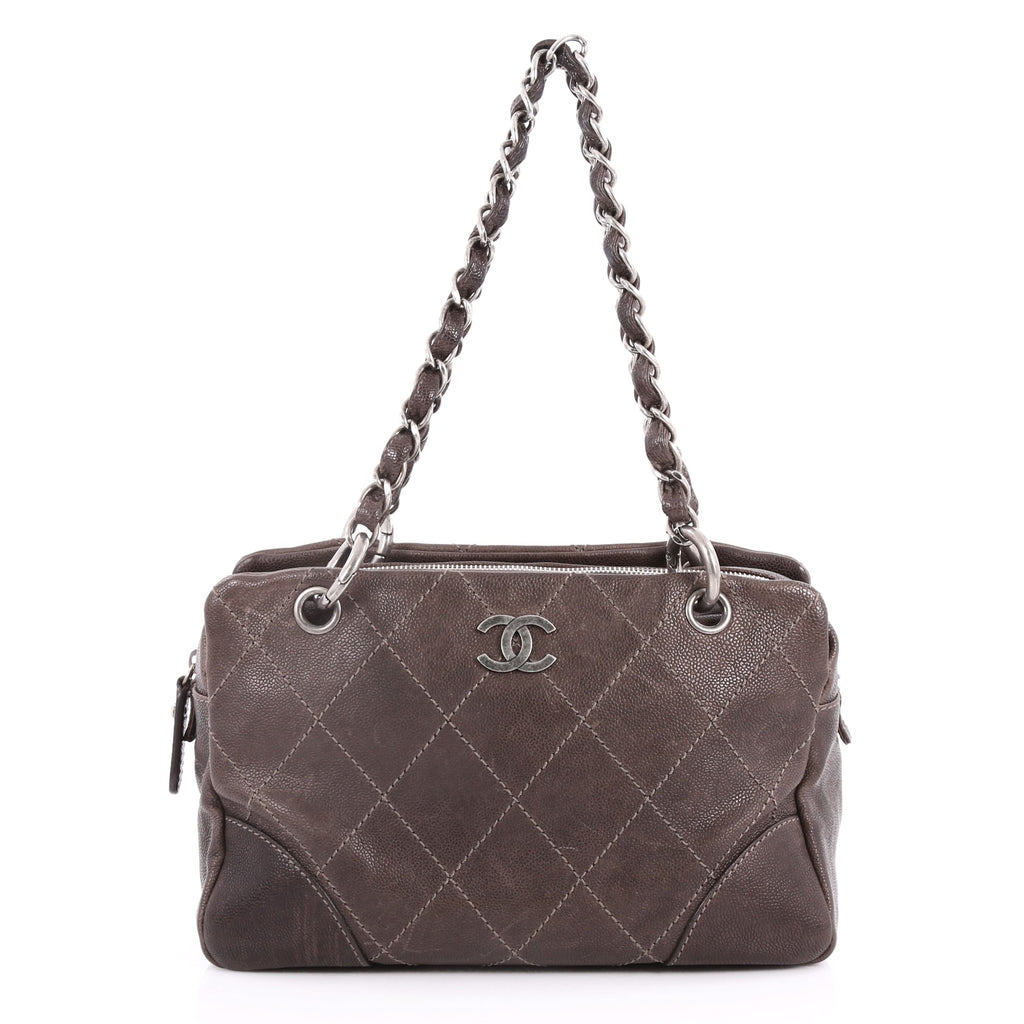 595c7593dbe5ac Buy Chanel Outdoor Ligne Tote Quilted Caviar Medium Brown 3140201 ...