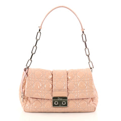 Christian Dior New Lock Flap Bag Cannage Quilt Patent Small Pink 3143106
