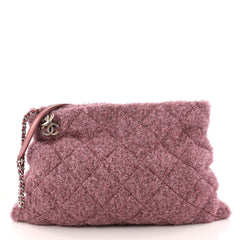 Chanel Shopping Handbag Quilted Knit Pluto Glitter Large 3143704
