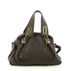 Chloe Paraty Top Handle Bag Leather Small Gray 3145302