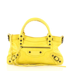 Balenciaga First Classic Studs Handbag Leather Yellow 3146503