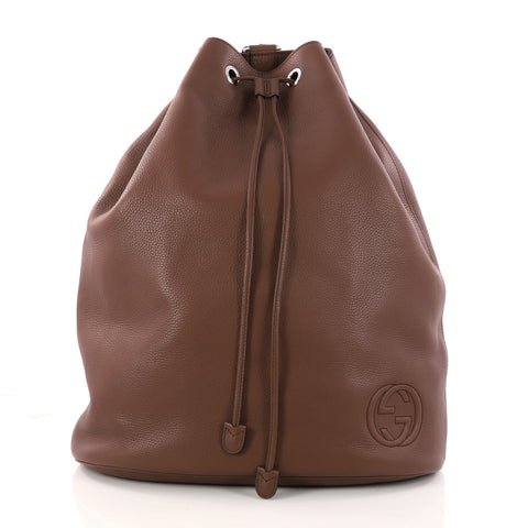 912212731f8 Buy Gucci Soho Drawstring Backpack Leather Large Brown 3146702 – Rebag
