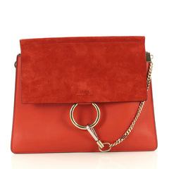 Chloe Faye Shoulder Bag Leather and Suede Medium Red 3147601