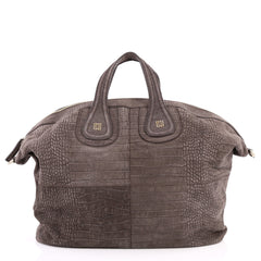 Givenchy Nightingale Satchel Crocodile Embossed Nubuck Gray 3159501