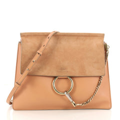 Chloe Faye Shoulder Bag Leather and Suede Medium Neutral 3163101