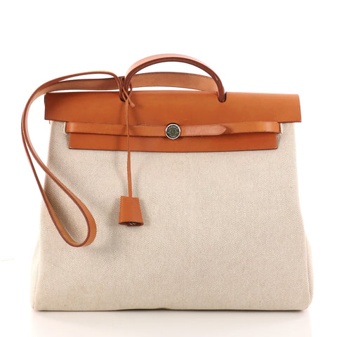 aa393e160e96 Buy Hermes Herbag Toile and Leather MM Brown 3165903 – Rebag