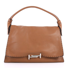 Tod's Double T Shoulder Bag Leather Medium Brown 3173001