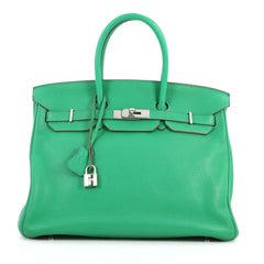 Hermes Birkin Handbag Green Clemence with Palladium 3173402