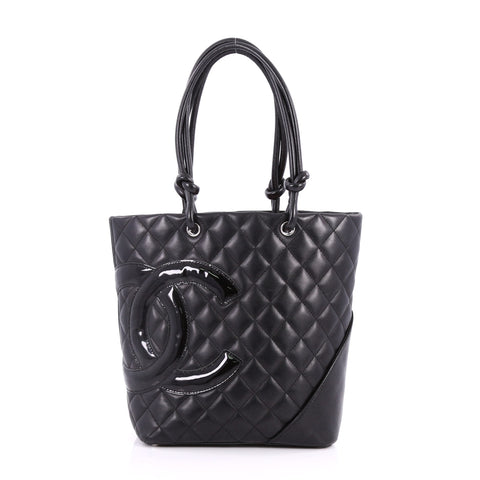 d56d7add72bf Buy Chanel Cambon Tote Quilted Leather Medium Black 3175502 – Rebag