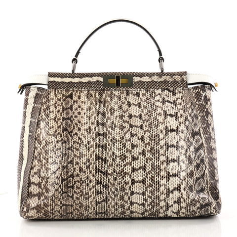8d54a445aba3 Buy Fendi Peekaboo Handbag Python Large Neutral 3176801 – Rebag