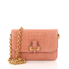 Tom Ford Buckle Chain Flap Bag Crocodile Small Neutral 3181511