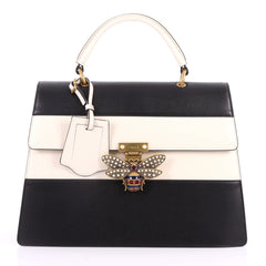 Gucci Queen Margaret Top Handle Bag Colorblock Leather Blak 3189201