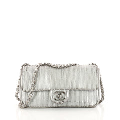 Chanel CC Flap Bag Laser Cut Leather Small Silver 3189502