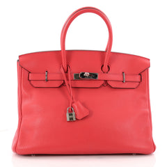 Hermes Birkin Handbag Red Clemence with Palladium Hardware 35 Red 3191101