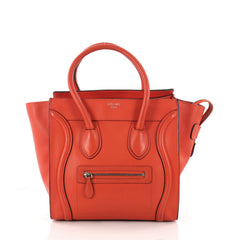 Celine Luggage Handbag Grainy Leather Micro Red 3192002