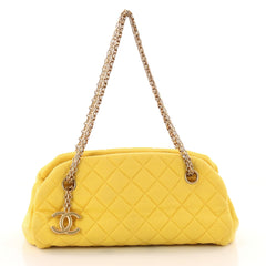 Chanel Just Mademoiselle Handbag Quilted Jersey Small Yellow 3192301