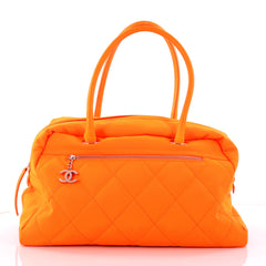 Chanel Biarritz Duffle Bag Quilted Canvas Large Orange 3193102