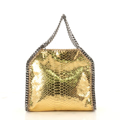 Stella McCartney Falabella Fold Over Crossbody Bag Faux Python Mini Gold 3194201