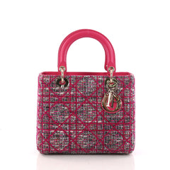 Christian Dior Lady Dior Handbag Cannage Quilt Tweed with Leather Medium Pink 3194401