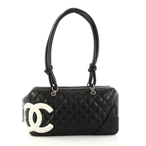 f8e27b3dcf4e Buy Chanel Cambon Bowler Bag Quilted Leather Medium Black 3195001 – Rebag
