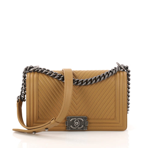 2d8f55f342be Buy Chanel Boy Flap Bag Chevron Calfskin Old Medium Brown 3197301 – Rebag