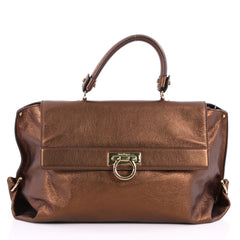 Salvatore Ferragamo Sofia Satchel Pebbled Leather Large 3200004 0151a5e32ea01