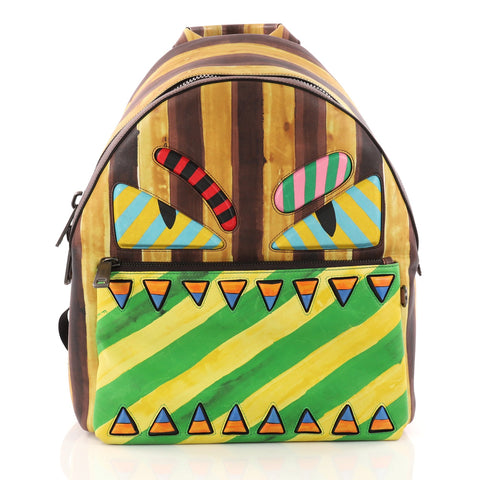 4945c069bf77 Buy Fendi Monster Backpack Printed Leather Large Yellow 3203001 – Rebag