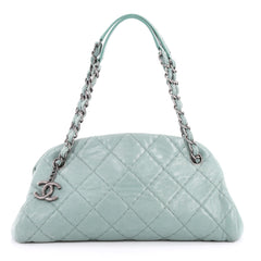 Chanel Just Mademoiselle Handbag Quilted Iridescent Leather Medium Green 3203201