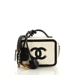 Chanel Filigree Vanity Case Quilted Caviar Mini White 3203401