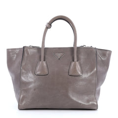 Prada Twin Pocket Tote Glace Calf Small Gray 3205501