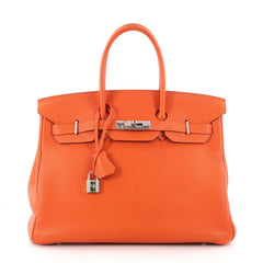 Hermes Birkin Handbag Orange Vache Trekking with Orange 3210203