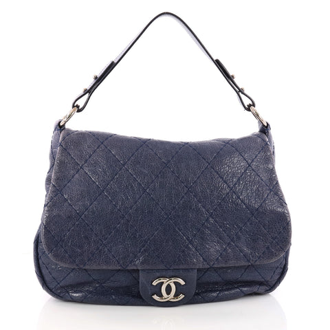 a8a62896ff8b Buy Chanel On the Road Flap Bag Quilted Leather Large Blue 3210601 – Rebag