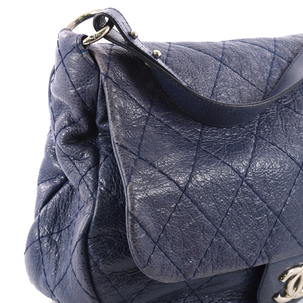 273c4367e32aea Buy Chanel On the Road Flap Bag Quilted Leather Large Blue 3210601 ...
