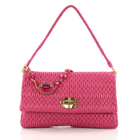 3ba12754701e Buy Miu Miu Crystal Clutch Matelasse Leather Large Pink 3213001 – Rebag