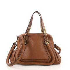 Chloe Paraty Top Handle Bag Leather Small Brown 3213203