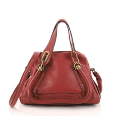 Chloe Paraty Top Handle Bag Leather Small Red 3213204