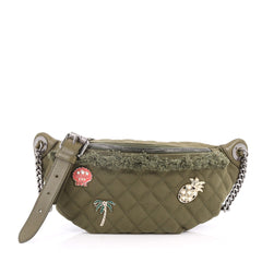 Chanel Cuba Charms Waist Bag Quilted Canvas Green 3213301
