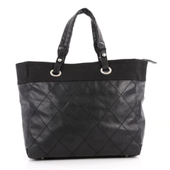 Chanel Biarritz Tote Quilted Coated Canvas Large Black 3213402