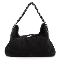 Chanel Ultimate Stitch Hobo Quilted Nubuck Black 3214004