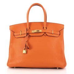 Hermes Birkin Handbag Orange Togo with Gold Hardware 35 Orange 3214601