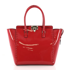 Valentino Rockstud Tote Rigid Patent Medium Red 3215201