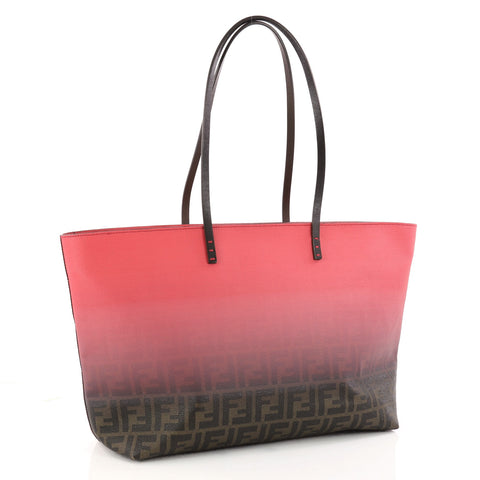 770d514280c6 Buy Fendi Roll Tote Ombre Zucca Coated Canvas Large Pink 3217002 – Rebag