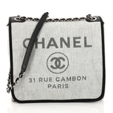 Chanel Deauville Messenger Bag Canvas Small Gray 3218102