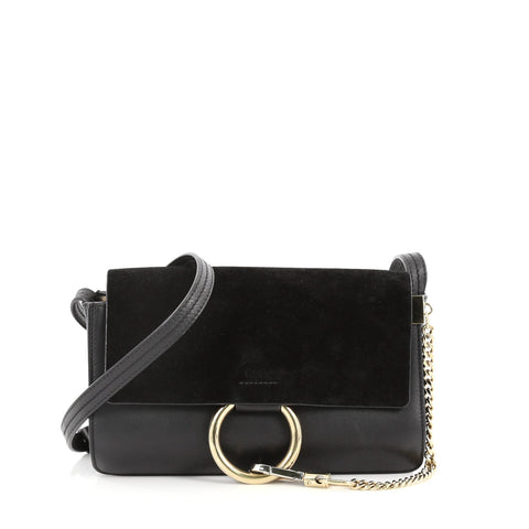 33fda57ef Buy Chloe Faye Shoulder Bag Leather and Suede Small Black 3218601 – Rebag
