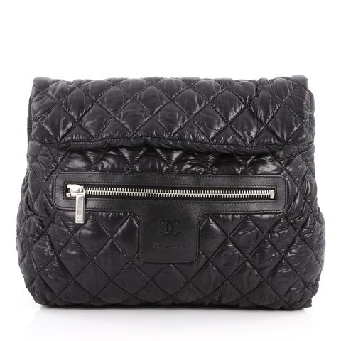 0ebd9ae7057d Buy Chanel Coco Cocoon Flap Backpack Quilted Nylon Black 3219203 – Rebag