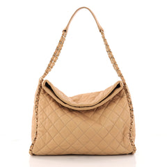 Chanel Chain Me Hobo Quilted Leather Large Brown 3221202