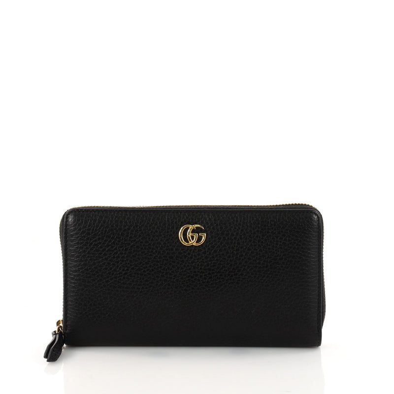 8f234b241524 Buy Gucci GG Marmont Zip Around Wallet Leather Black 3227001 – Rebag