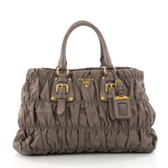 Prada Gaufre Convertible Satchel Tessuto Medium Gray 3227403